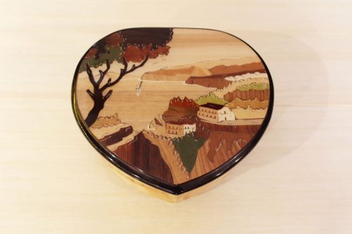 Heart shaped inlaid wooden box