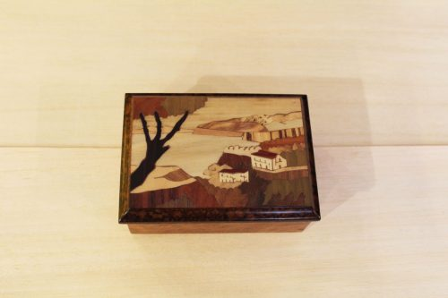 Italian wood jewelry box with Sorrento landscape