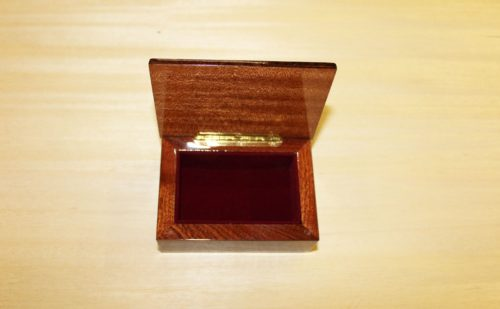 Handcrafted inlaid box in mahogany and walnut wood