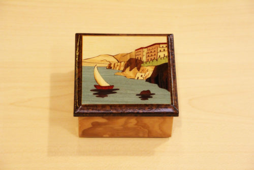 Inlaid wood box with mahogany and olive ash