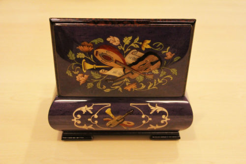 Rear - Italian inlaid music box adorned with musical instruments