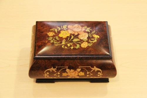 Inlaid wood music box