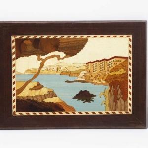 Quadro intarsiato con veduta di Sorrento dal mare