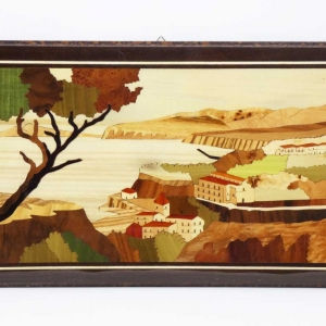 Quadro intarsiato con vista di Sorrento e Vesuvio