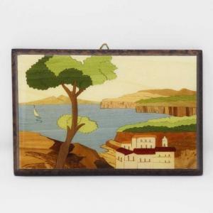 Quadretto intarsiato con paesaggio di Sorrento e Vesuvio