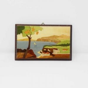 Quadretto intarsiato con paesaggio di Sorrento con arance