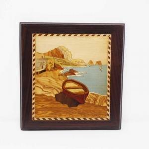 Quadro intarsiato con paesaggio di Capri e Faraglioni
