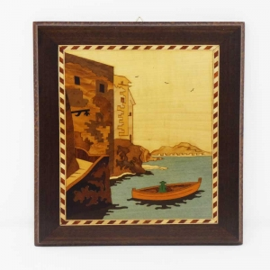 Quadro intarsiato con veduta della marina grande di Sorrento
